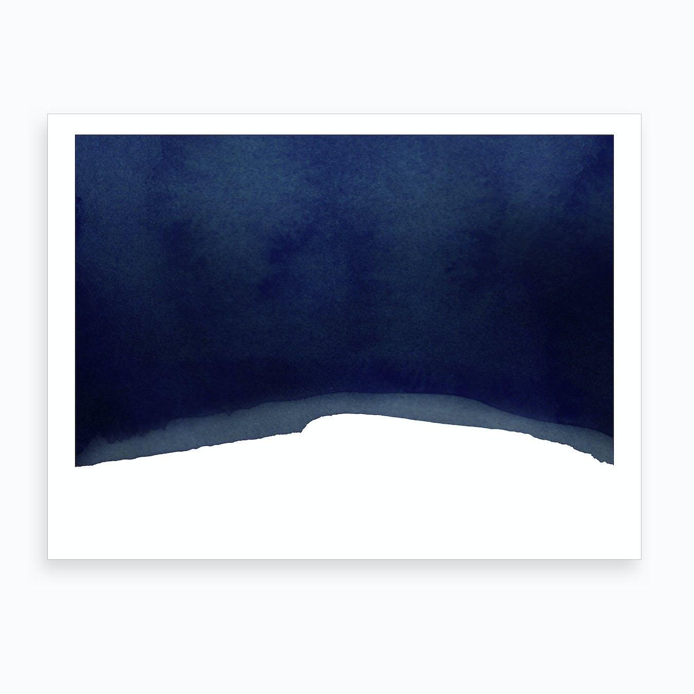 Minimal Navy Blue Abstract 02  Art Print