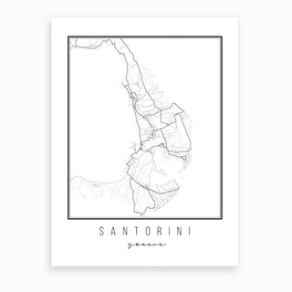 Santorini Greece Street Map Art Print