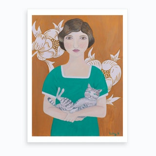 2 Woman In Green Dress With Cat Art Print