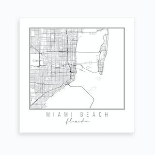 Miami Beach Florida Street Map Art Print