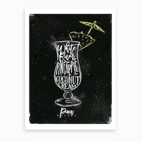 Pina Colada Chalk Cocktail Art Print
