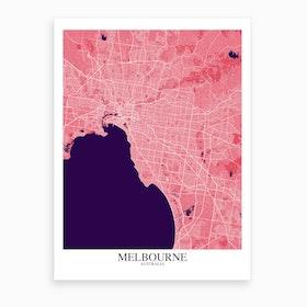 Melbourne Pink Purple Map Art Print