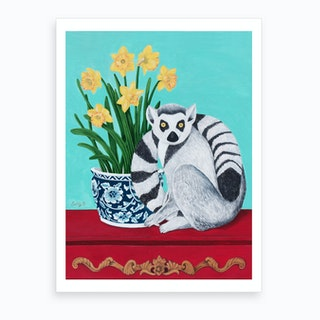 Lemur And Daffodil Art Print