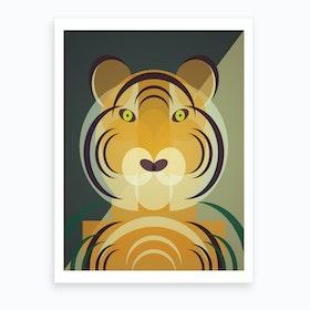 Mid Century Geometric Tiger Art Print