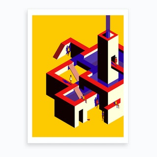 Impossible Architecture Yellow And Red Art Print