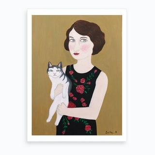 2 Woman In Rose Dress With Cat Art Print