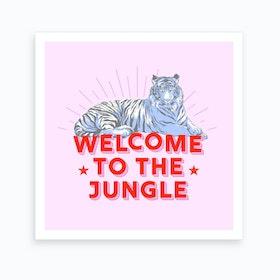 Welcome To The Jungle Retro Tiger Art Print
