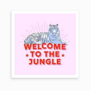 Welcome To The Jungle Retro Tiger Art Print
