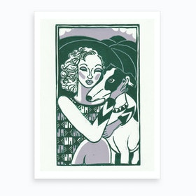 Lady & Dog Green & Lilac Art Print