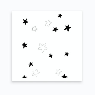 Nursery   Black And White Stars Art Print