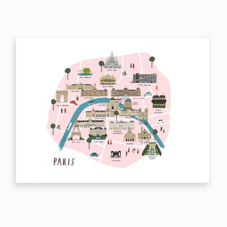 Paris Map Print Art Print