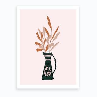 Vase And Leaves Art Print