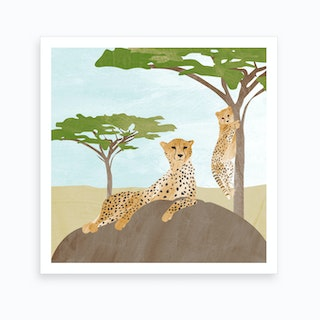 Leopard With Baby Art Print