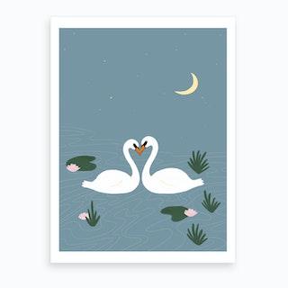 Soulmate Swans Art Print