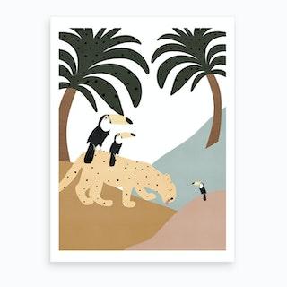 Jungle Art  Leopard With Toucans  Art Print