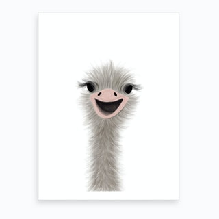Ostrich Nursery Art  Portrait  Art Print