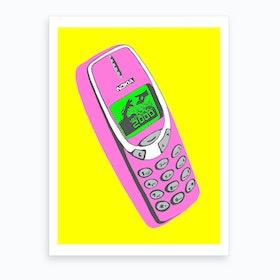 Retro 2000 Mobile Phone Pink Art Print