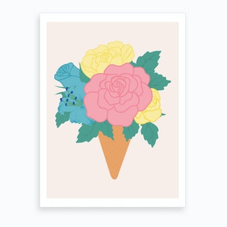 Pastel Ice Crem With Roses Art Print