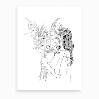 Girl With Flower Bouquet Art Print