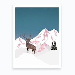 Mountain Love   Stag Art Print