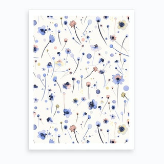 Blue Soft Flowers Art Print
