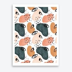 Painterly Eyes Pattern Art Print