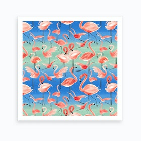 Flamingo Pink Square Art Print