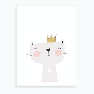 Cute Grey Cat with Crown Art Print