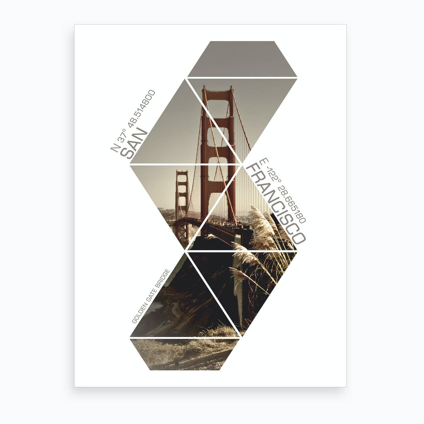 San Francisco Golden Gate Bridge Coordinates Art Print