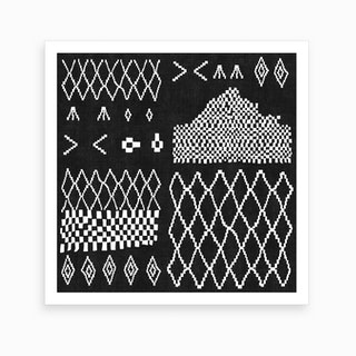 Moroccan Patchwork In Black Art Print