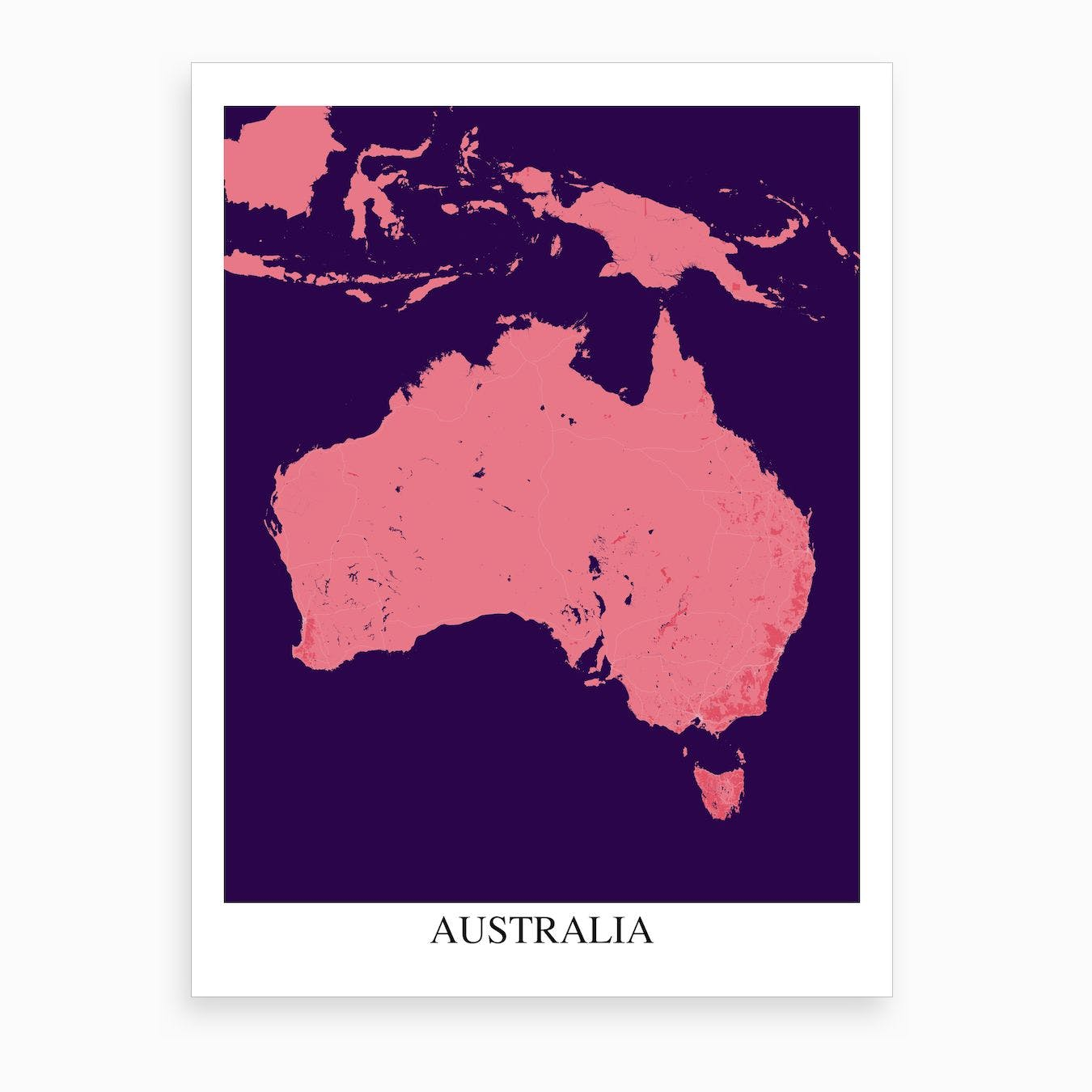 Purple State Map.Australia Pink Purple Map Art Print By Mapply Fy