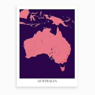 Australia Pink Purple Map Art Print