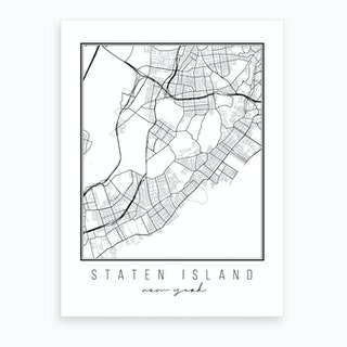 Staten Island New York Street Map Art Print