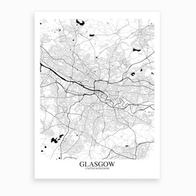 Glasgow White Black Map Art Print