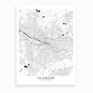Glasgow White Black Map Art Print