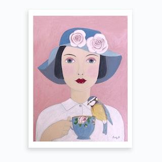 Woman With Teacup And Bird Art Print