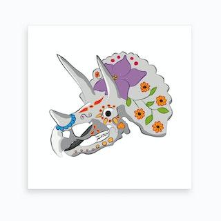 Dia de Los Muertos Triceratop Art Print