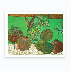 Coconuts On The Ground Art Print