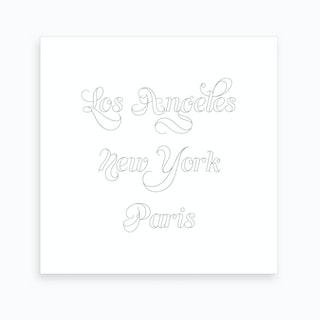 Los Angeles New York Paris Outline Art Print