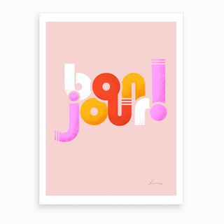 Bonjour French Typography Art Print