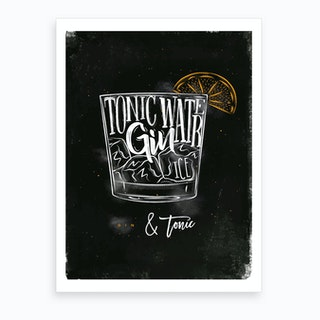 Gin and Tonic Chalk Cocktail Art Print
