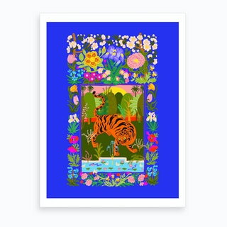 Tiger Garden Blue Art Print