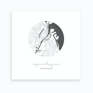 Copenhagen Denmark Circle Map Art Print