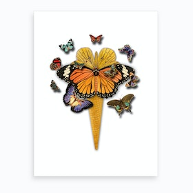 Butterflies Ice Cream Art Print