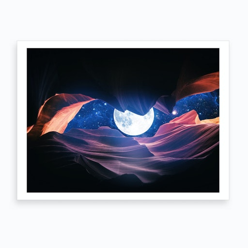 Grand Canyon With Space & Full Moon Collage I Art Print