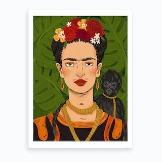 Frida And Her Monkey Art Print