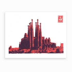 Barcelona Screen Print Orange Art Print
