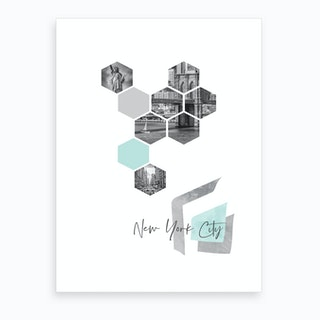 Urban Design New York City No 3 Turquoise Art Print