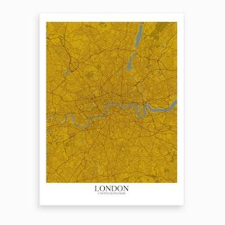 London Yellow Blue Map Art Print
