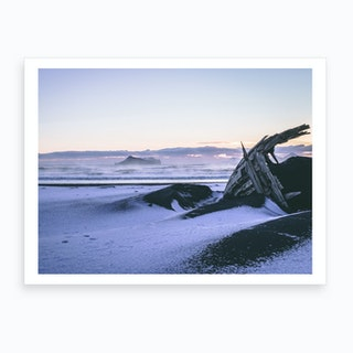 Iceland Black Sand Beach Shipwreck 2 Art Print